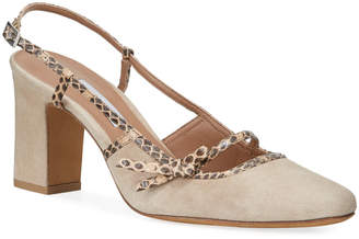 Tabitha Simmons Donnie Suede & Snakeskin Bow Pumps, Beige