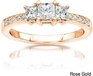 JeenJewels 0.58 Carat Three Stone Discount Diamond Engagement Ring with Princess cut Diamond on 18K Rose gold
