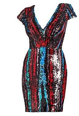 Dress the Population Women's Zoe Cap Sleeve Sequin Mini Dress