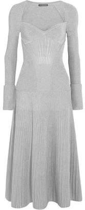 Alexander McQueen Ribbed Metallic Wool-Blend Midi Dress