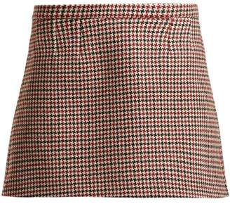 RED Valentino Houndstooth Wool Blend Mini Skirt - Womens - Red Multi