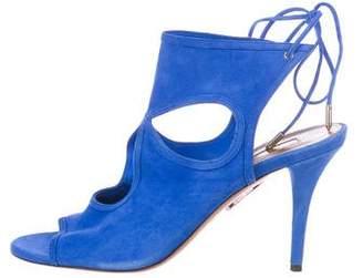 Aquazzura Suede Mid-Heel Sandals