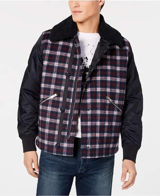 Armani Exchange Men's Pattern-Blocked Plaid Jacket