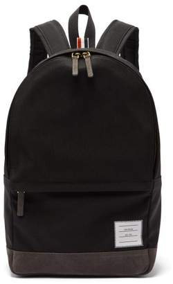 Thom Browne Unstructured Canvas And Suede Backpack - Mens - Black