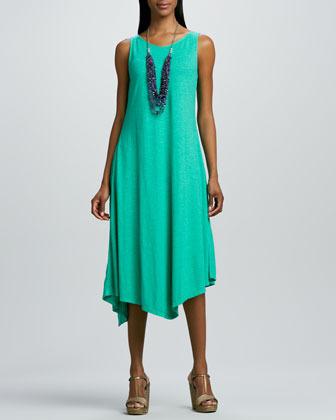 Eileen Fisher Slub V-Neck Handkerchief-Hem Dress, Petite