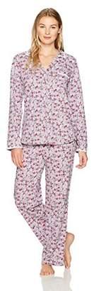 Eileen West Women's Peached Jersey Notch Collar Pajama