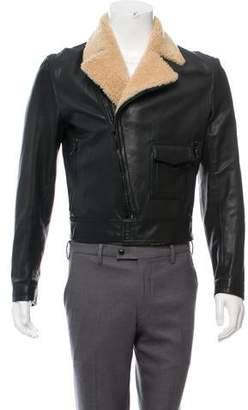 Givenchy Shearling-Trimmed Leather Jacket