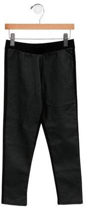 Derhy Kids Girls' Faux Leather-Paneled Pants w/ Tags