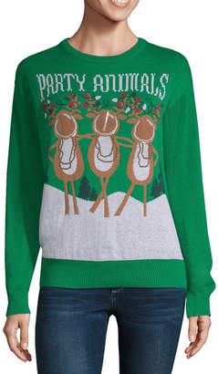 City Streets Ugly Christmas Sweater Womens Crew Neck Long Sleeve Holiday Pullover Sweater-Juniors