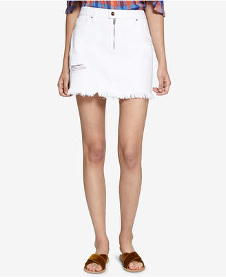 Sanctuary Frayed Zip-Detail Denim Skirt