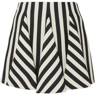 Valentino Striped Wool And Silk-blend Mini Skirt - Black