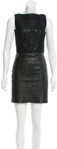Saint Laurent Saint Laurent Lace-Accented Leather Dress w/ Tags