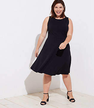 LOFT Plus Ponte Pocket Flare Dress