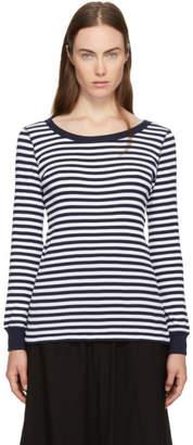 Hyke Navy and White Striped Border T-Shirt