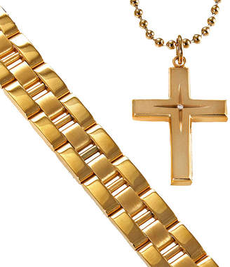 JCPenney FINE JEWELRY Men's Gold-Plated Stainless Steel Cross & Bracelet in Valet Box