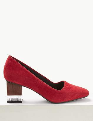 Marks and Spencer Suede Statement Heel Square Toe Court Shoes