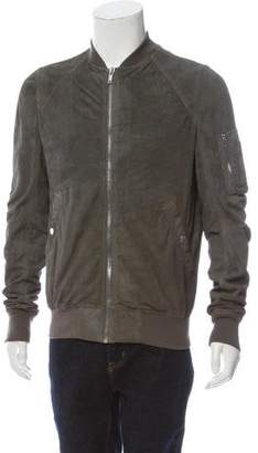Rick Owens Distressed Lamb Leather Bomber Jacket