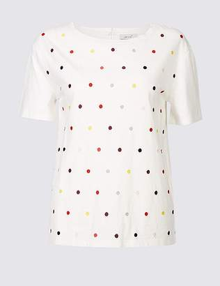 Marks and Spencer Pure Cotton Embroidered Short Sleeve Top