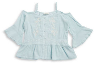 Jessica Simpson Girls 7-16 Embroidered Cold-Shoulder Top $44.50 thestylecure.com