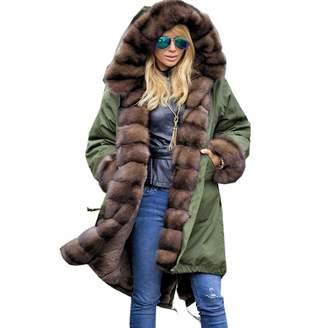 Limsea Women Blouse Limsea 2018 Halloween Thickened Faux Fur Solid Parka Women Hooded Long Winter Plus Size Jacket Overcoat