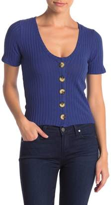 Project Social T Ribbed V-Neck Button Front Tee