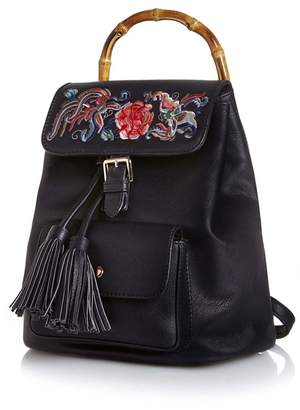 Yumi Black Bamboo Detail Embroidered Backpack