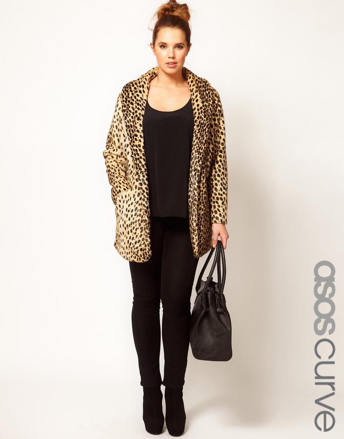 ASOS CURVE Leopard Fur Coat