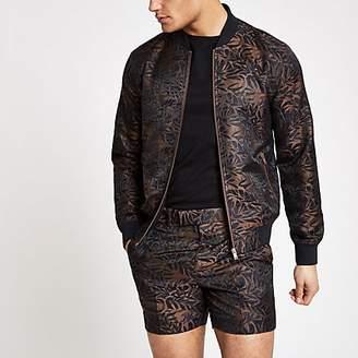 River Island Brown printed skinny fit bomber jacket