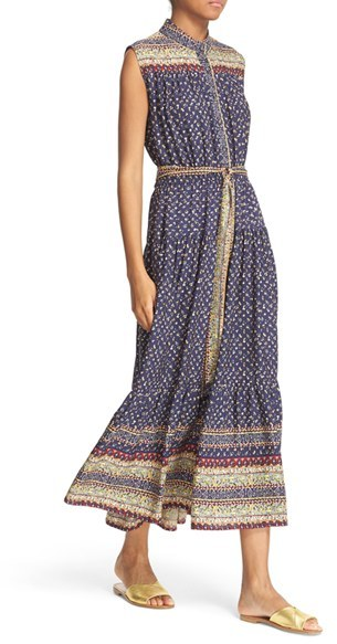 Women's Sea Midnight Border Print Silk Midi Dress 4
