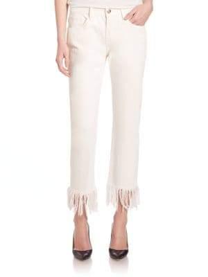 3x1 Straight-Leg Crop Fringe Jeans