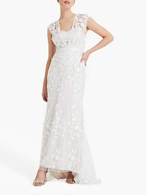 Phase Eight Bridal Peony Lace Wedding Dress, Almond