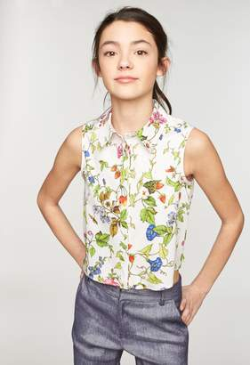Milly MINIS FLORAL PRINT TIE BACK BUTTON UP