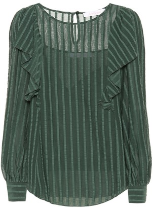 See by Chloe Striped cotton-blend ruffle top