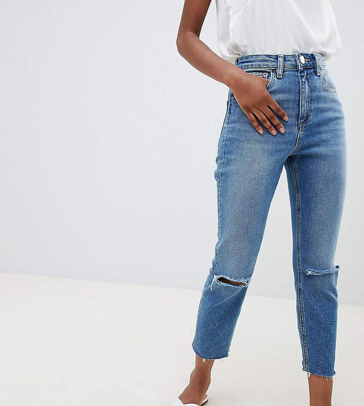 ASOS Petite ASOS DESIGN Petite Farleigh high waist slim mom jeans in mid stonewash blue with rips