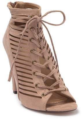 Chase & Chloe Donna Lace-Up Peep Toe Bootie