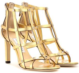 Jimmy Choo Tina 85 metallic leather sandals