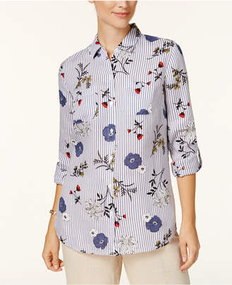 Charter Club Petite Floral-Print Striped Shirt, Created for Macy's