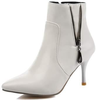 3e4995d29511 IDIFU Women s Elegant Pointed Toe High Heels Stiletto Side Zipper Biker  Short Ankle Booties