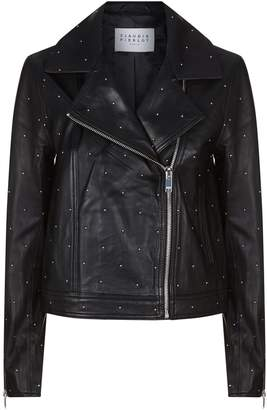 Claudie Pierlot Studded Leather Biker Jacket