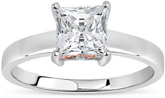 Swarovski FINE JEWELRY Sterling Silver 18k Rose Gold Over Silver Princess Cut 2 CT. T.W. Solitaire Ring - Featuring Zirconia