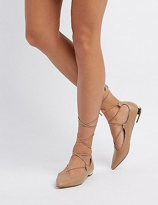 Lace-Up Pointed Toe Gold-Heel Flats $24.99 thestylecure.com