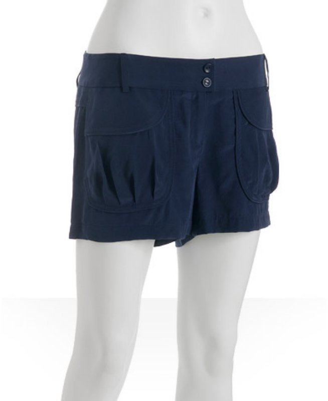 Twelfth St. By Cynthia Vincent navy silk pocket detail shorts
