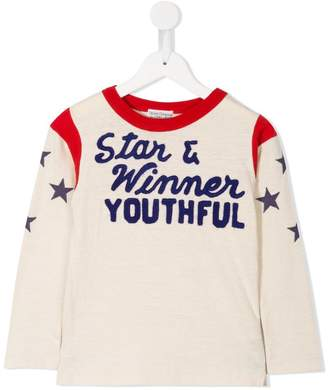 Denim Dungaree slogan sweatshirt