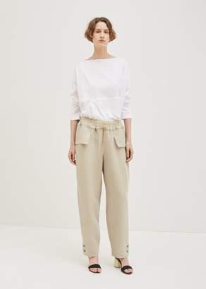 BEIGE Nehera Classic Linen Pants Grey With Ochre Stripes