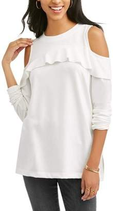Laundry by Shelli Segal French Women's Ruffled Cold Shoulder Sweatshirt