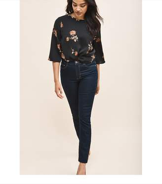 Dynamite Tie Blouse Black and Red Floral