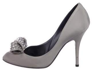 Sergio Rossi Embellished Canvas Pumps