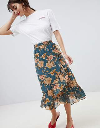 Vila floral midi skirt with ruffle hem