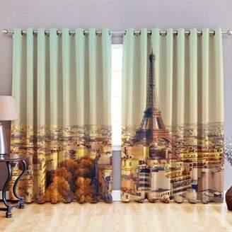 LOFT 25 Paris 3D Print Blackout Fabric Eyelet Curtains 52X 72
