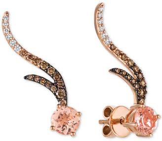 LeVian Le Vian Chocolatier Peach Morganite (1-1/8 ct. t.w.) & Diamond (1/2 ct. t.w.) Climber Stud Earrings in 14k Rose Gold
